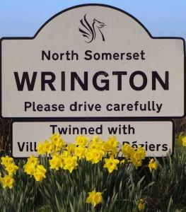 Wrington village sign in Spring